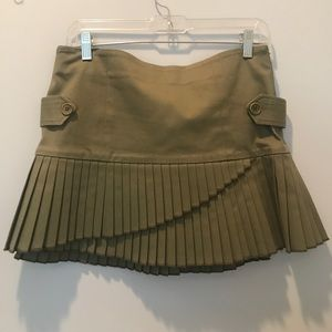 Army green mini skirt with pleats by Development
